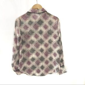 Pleione Tops - Pleione Sheer Long Sleeve Patterned Button Top XS